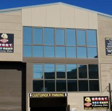 Photo of Solar Gard Stainless Steel window tint installed on a commercial building